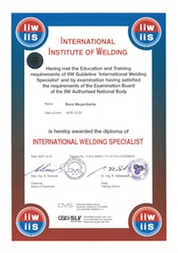 Certificate international welding specialist